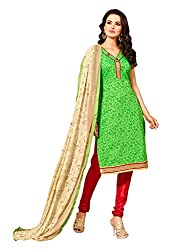 PS Enterprise Parrot Green Chanderi Cotton Printed Unstitched Dress Material With Dupatta - ANY7016