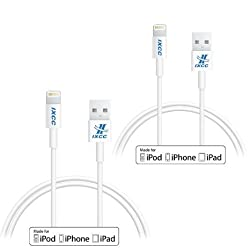 iXCC Element Series 1ft Apple MFi Certified Lightning 8pin to USB Charge and Sync Cable for iPhone 5/6/6s/Plus/iPad Mini/Air/Pro - 2pc White