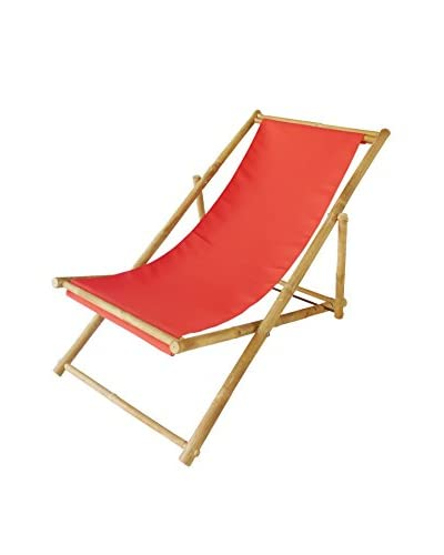 ZEW, Inc. Bamboo Relaxing Chair, Red