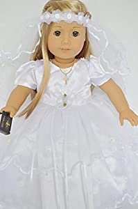 Communion Dress for American Girl Dolls Complete with Shoes -Veil-Bible and Cross