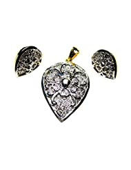 Poddar Jewels Cubic Zirconia Sliver Pendant Set