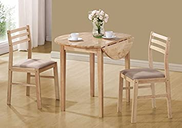 """NATURAL 3PCS DINING SET WITH A 36""""DIA DROP LEAF TABLE (SIZE: 36L X 36W X 30H)"""