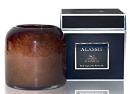 AMBER & VANILLA (NO 5) ALASSIS Art Glass Large 2-Wick 40 Hour Scented Jar Candle by ALASSIS