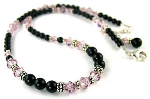 June Alexandrite Beaded Swarovski Crystal Black Pearl Birthstone Necklace in Sterling Silver