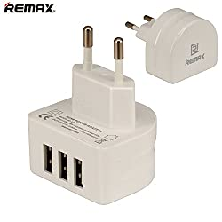 Remax Premium 3.1 Amp Three Port Traval USB Wall Charger for NXI Fabfone Next