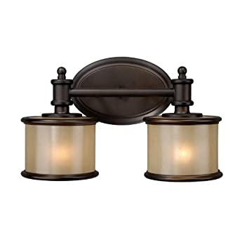 Vaxcel USA CRVLU002NB Carlisle 2 Light Bathroom Vanity Lighting Fixture in Bronze, Glass ...