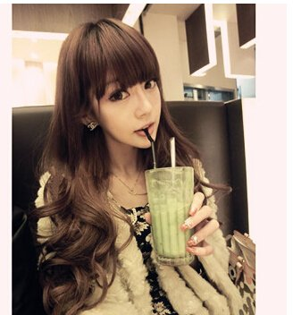 Orino Beauty™ High Quality New Fashion Fluffy Fancy Brown Long Full Wig, Curl Wigs With Neat Bangs(Obw-#023)