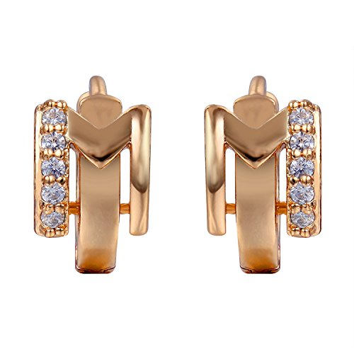 Snowman Lee an Expression Of Love Mini Beads Gemstone 18k Rose Gold Plated Hoop Earrings