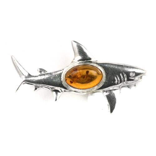 Baltic Honey Amber Sterling Silver Little Museum Collection Shark Pin 19th Century