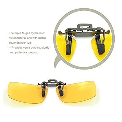 Besgoods 2PCS (Yellow Night Vision+Black) Cycling Sport Polarized Clip-on Flip up Sunglasses Glasses