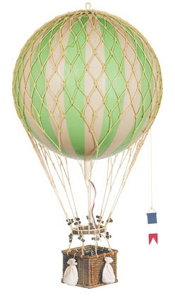 True Green Royal Aero - Hot Air Balloon Model - Features Hand-Knotted Netting And Rattan Basket - Authentic Models Ap163G
