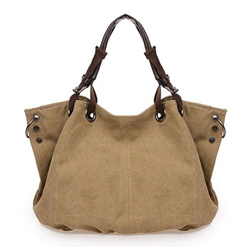 D.jiani® Moda gnocchi tela di canapa casuali spalla portatile diagonale femminile del sacchetto di grande capacità ( Kaki)