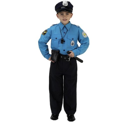 Lets Party By Aeromax Jr. Police Officer Suit Child Costume / Blue - Size Small (4-6)