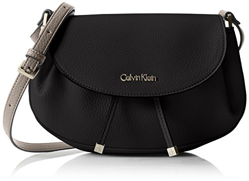 Calvin Klein JeansJENNA SADDLE BAG - Borsa a tracolla Donna , Nero (Schwarz (BLACK 001 001)), 26x20x7 cm (B x H x T)