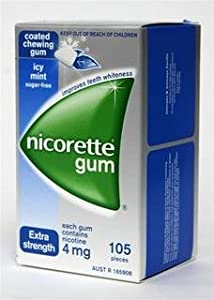 Nicorette Coated Nicotine Gum Icy Mint 4 Boxes 420 Pieces 4mg