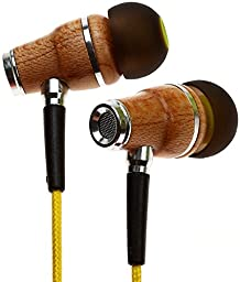 Symphonized NRG Premium Genuine Wood In-ear Noise-isolating Headphones with Microphone (Yellow)