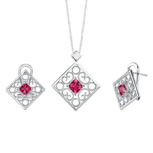 Revoni Princess Cut Ruby Pendant Earrings Set in Sterling Silver
