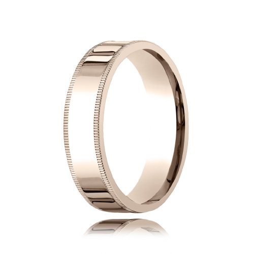 14k Rose Gold Traditional Comfort Fit with Milgrain Wedding Band - 6mm