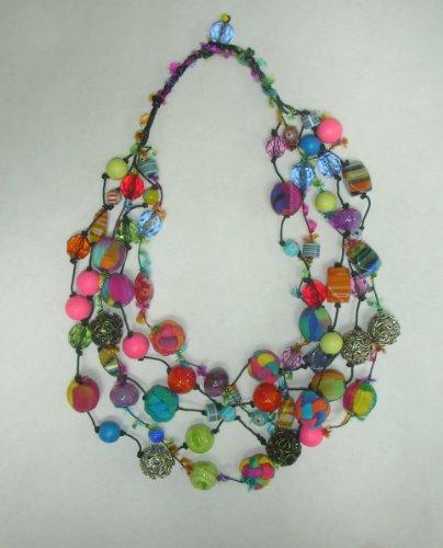 Handmade Beaded Silk Fiber Necklace