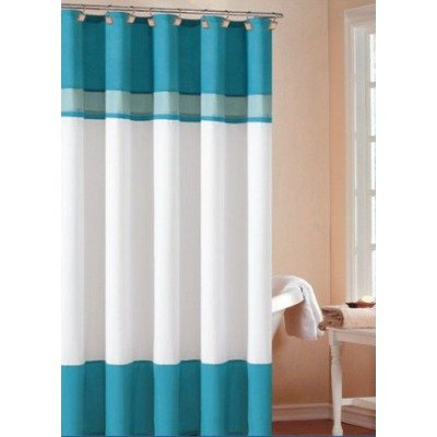 cheap layla shower curtain color turquoise sky on sale striped
