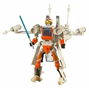 Star Wars Transformers More Than Meets The Eye 7 Inch Tall Action Figure - Luke Skywalker X-Wing Fighter with 4 Projectile Missiles, Lightsaber and Luke Skywalker Pilot Figure