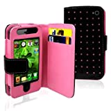 Importer520 Hot Pink Dot Flip PU Leather Card Holder Wallet Case Cover Pouch For iPhone 4 4S 4G