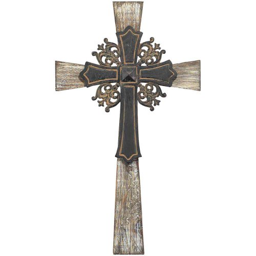 Wall Cross - Wood Textured Cross with Ornate Metal Cross