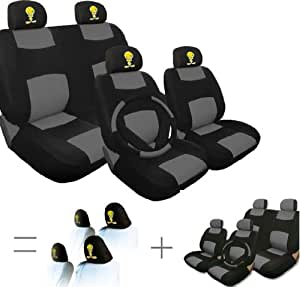 new bundled 17 pieces tweety bird universal synthetic leather car seat covers set. Black Bedroom Furniture Sets. Home Design Ideas