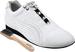Very Fine Men\'s Women\'s Salsa Ballroom Latin Dance Shoes Style SERO101 Bundle with Dance Shoe Wire Brush, White Leather 13 US (Women 13/Men 12)