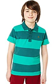 Pure Cotton Striped Polo Shirt with Stay New™