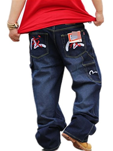 Easy Men's Hip Hop boy cool retro Chinese characters Relaxed Embroidery Pants