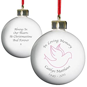 In Loving Memory Pink Bauble. This is a great product that can be personalised to your requirements ( please see main discription for full details ) Ideal gifts and presents for weddings, Christenings, Birthdays, Christmas etc...
