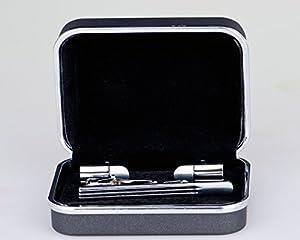 Lodestar Silver Milky Way boutons de manchette classiques et pince à cravate élégante, ensemble en boîte-cadeau: 3-Piece Rocket DE (ACB-13)
