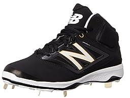New Balance Men\'s M4040V3 Cleat Baseball Shoe, Black/Black, 13 2E US