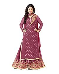 VIHA Pink Embroidered Pure Georgette Plazzo Suit