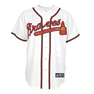 MLB Atlanta Braves Home Replica Baseball Youth Jersey, White by Majestic