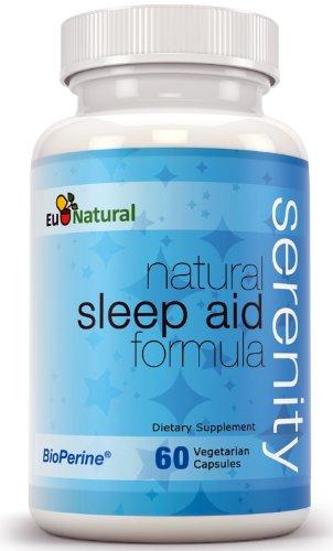 Serenity Natural Sleep Aid, 60 Vegetarian Capsules (Pure Formula With Melatonin, Valerian, Chamomile, Passion Flower, 5-Htp, L-Theanine)