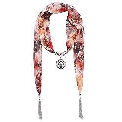 D EXCEED Women's Chiffon Floral Tassel Scarf Flower Pendant Jewelry Scarves (Orange Flower Pendant)