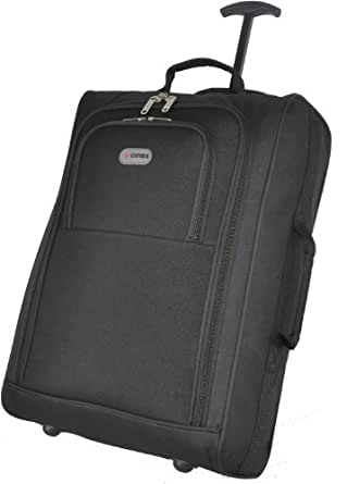 Frenzy/5Cities Lightweight Hand Luggage Bag - Approved Ryanair 2 Wheeled Cabin Baggage. 42L Travel Suitcase Holdall Includes Padlock! (Black/Black)