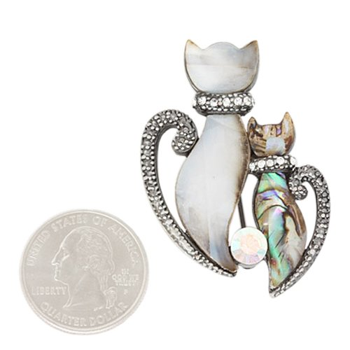 Abalone and Rhinestone Double Twin Cat Brooch Pin