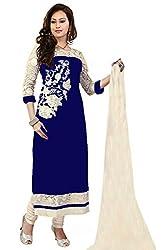 Mastani Kreation Blue Georgette Embroidedred Unstitched Dress Materials