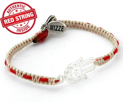 Eastern Silver Hamsa Charm with Authentic Red String Inside Handwoven Bracelet