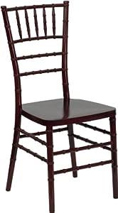 Flash Furniture LE-L-7D-MAH-RESIN-GG Flash Elegance Mahogany Resin Stacking Chiavari Chair, White