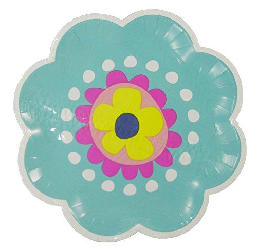 """Spring Fling! Blue Flower Shaped 8"""" Paper Plates - 14-pc Set - 1"""
