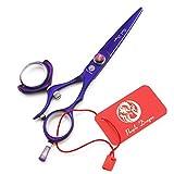 Tianyu 5.5 Inch Purple Hair Cutting Scissors 360 Degree Swivel Thumb Handle 440C Barber Shears with Scissors Bag (Color: Purple, Tamaño: 5.5 inch)