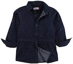 Oye Girls Printed Denim Tunic Shirt - Dark Blue (2-3Y)