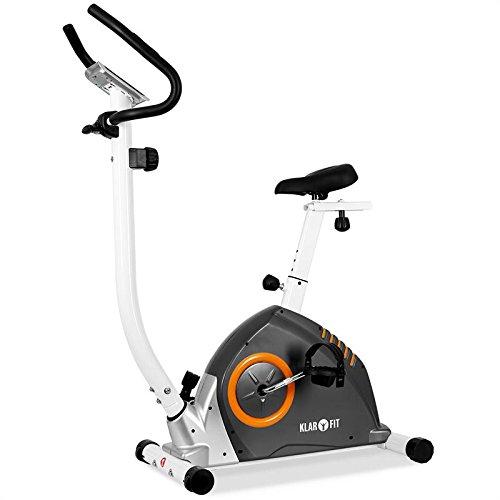 Klarfit MOBI ADVANCED Cyclette salvaspazio con cardiofrequenzimetro (computer di allenamento, 10 livelli di resistenza variabili, display LCD, sellino regolabile) - grigio