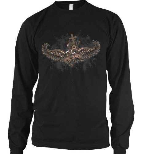 Crowned Love Mens Thermal Shirt, Winged Heart And Crown Old School Tattoo Style Design Mens Long Sleeve Thermal Shirt, X-Large, Black