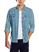 Levi's Camisa Hombre Sawtooth Western Slim Fit (Azul Lavado)