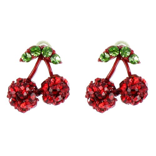 Red And Green Small Cherry Earrings front-966510